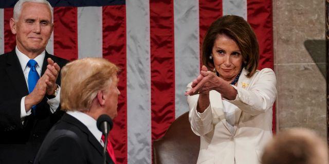Donald Trump och Nancy Pelosi. Arkivbilder. Doug Mills / TT NYHETSBYRÅN/ NTB Scanpix
