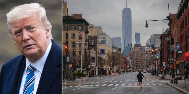 Donald Trump och Manhattan på lördagen. TT