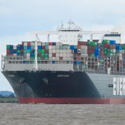 This photo shows the MV Ever Given near Hamburg, Germany on July 29, 2020. The Ever Given, a cargo container ship that's among the largest in the world, has turned sideways and blocked all traffic in Egypt's Suez Canal, officials said Wednesday, March 24, 2021, threatening to disrupt a global shipping system already strained by the coronavirus pandemic. Axel Rutte / TT NYHETSBYRÅN