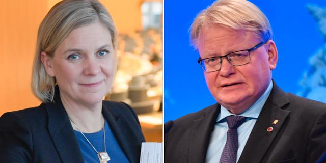 Magdalena Andersson och Peter Hultqvist.  TT