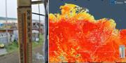 Termometer i Verhojansk/Bild från ECMWF Copernicus Climate Change Service visar värmen på ytan. TT