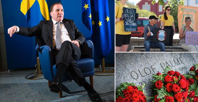 Stefan Löfven (S), protester mot utbyggnaden av Preems raffinaderi i Lysekil och blommor vid Olof Palmes grav. TT