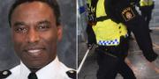 Victor Olisa/illustrationsbild av poliser i Stockholms tunnelbana. Metropolitan police/TT