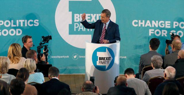 Farage under sitt tal idag. Frank Augstein / TT NYHETSBYRÅN