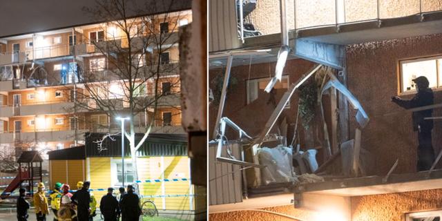 Polisens tekniker undersöker en loftgång där en detonation skett. TT
