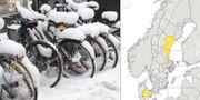 SMHI har utfärdat varningar för snöfall i mellersta Norrland.  TT / skärmdump SMHI