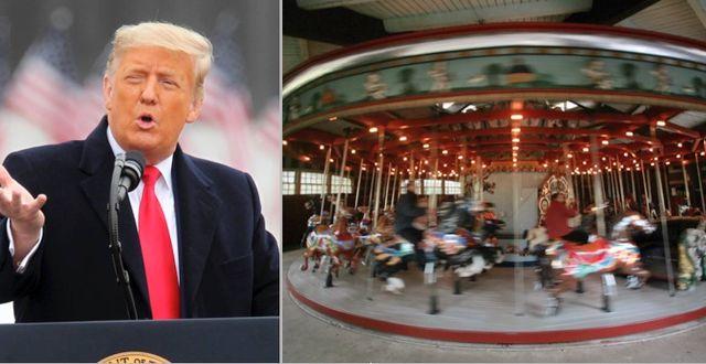 Donald Trump och karusellen i Central Park.  TT