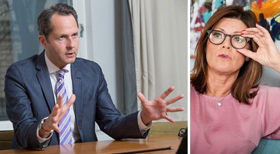 Andreas Åström, chef för näringspolitik och kommunikation på Almega och Eva Nordmark. Press/TT