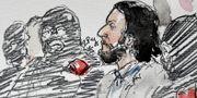 Rättegångsteckning förställande Salah Abdeslam från februari. BENOIT PEYRUCQ / AFP