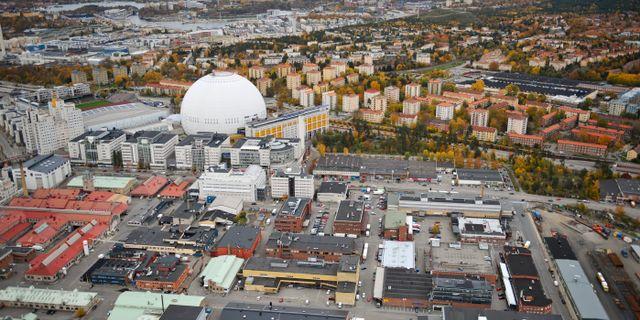 Flygbild över Globen, Globen city och Slakthusområdet i Stockholm. Arkivbild. Bertil Ericson / TT / TT NYHETSBYRÅN