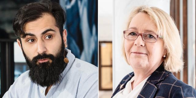 Hanif Bali och Irene Svenonius, ledamot i Moderaterna i Stockholms läns förbundsstyrelse.  TT