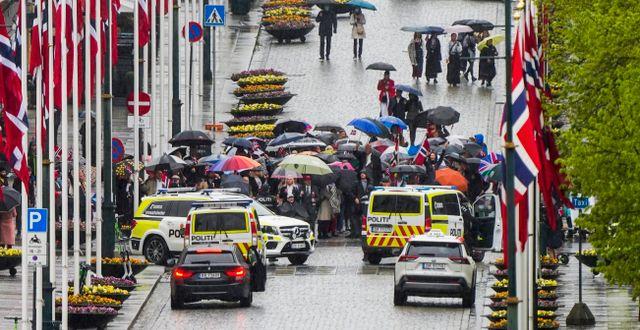 Bild från polisens ingripande i Oslo. Lise Åserud / POOL / TT NYHETSBYRÅN