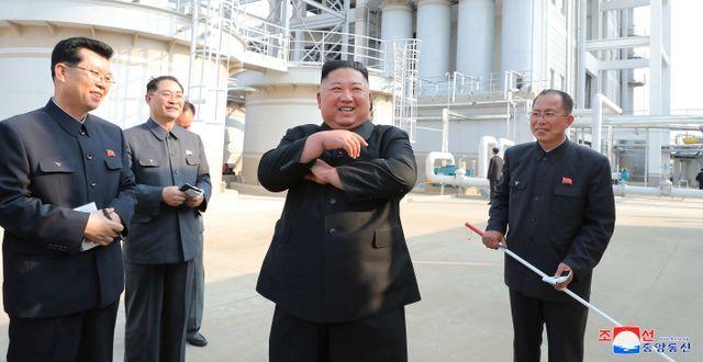 En av bilderna som släpptes på Kim Jong-Un efter frånvaron från offentligheten. KCNA / TT NYHETSBYRÅN