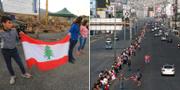 Bilder från dagens protester i Libanon. TT