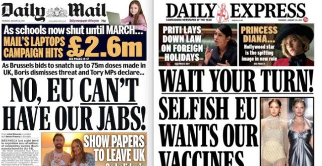 Löpsedlarna i Storbritannien kritiska till EU:s kamp för doser.