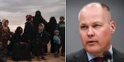 T.v. Kvinnor och barn väntar på att evakueras från Baghouz i Syrien.  T.h justitieminister Morgan Johansson.  TT