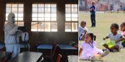 Klassrum i Sydafrika desinficeras/skolbarn i Sydafrica.  TT