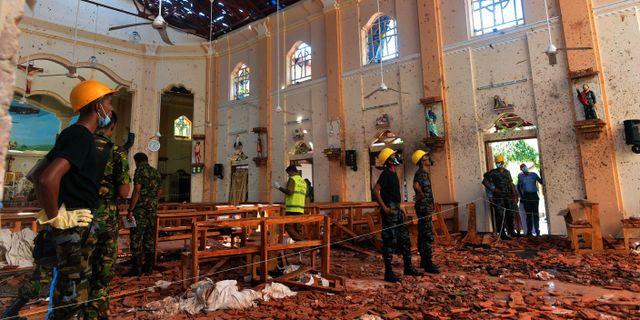 Inuti St Sebastians kyrka i Negombo. ISHARA S. KODIKARA / AFP