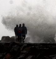 Vågor slår in mot land i Chennai.  R. Parthibhan / TT NYHETSBYRÅN