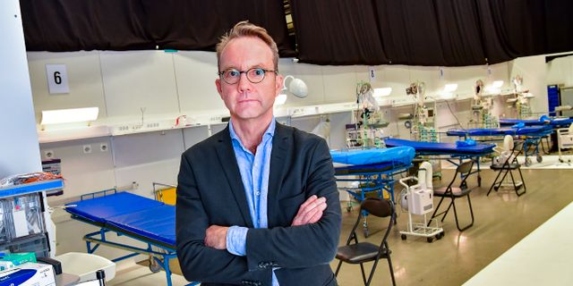 Björn Eriksson på fältsjukhuset i Älvsjö. Jonas Ekströmer/TT / TT NYHETSBYRÅN