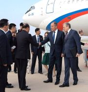 Sergej Lavrov anländer till Pyongyang. KCNA / TT NYHETSBYRÅN