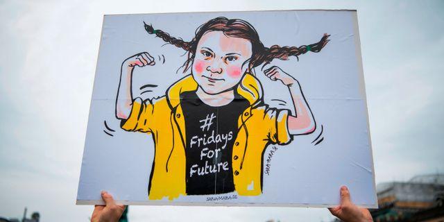 Ett Greta Thunberg-plakat.  JONATHAN NACKSTRAND / AFP