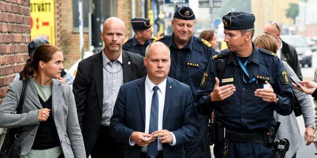 Morgan Johansson vid ett besök i Malmö tidigare i år. Johan Nilsson/TT / TT NYHETSBYRÅN