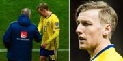 Emil Forsberg när han blir utbytt i matchen mot Rumänien. Bildbyrån