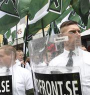 Nazistiska Nordiska motståndsrörelsen demonstrerar i Ludvika. Arkivbild.  Ulf Palm/TT / TT NYHETSBYRÅN