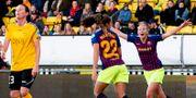 Lieke Martens och Toni Duggan under CL-matchen mellan Barcelona och Lilleström.  Fredrik Hagen / TT NYHETSBYRÅN/ NTB Scanpix