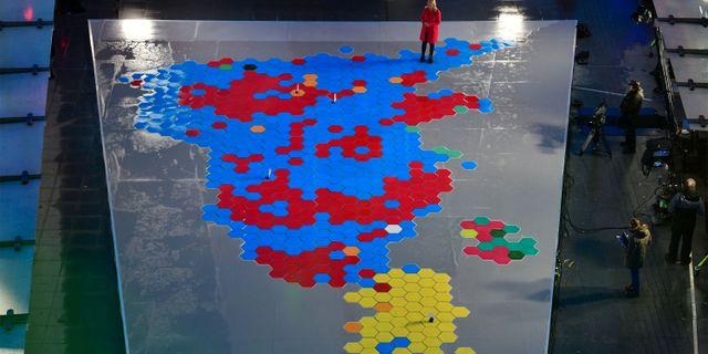 Karta över mandaten. JEFF OVERS/BBC / TT NYHETSBYRÅN