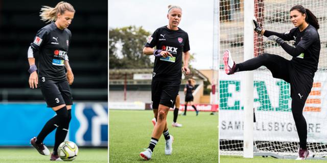 Nathalie Björn, Caroline Seger och Zećira Mušović  under en träning idag – tre av spelarna Rosengård får betalt för. Bildbyrån
