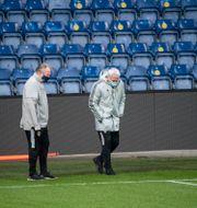 Fotbollsförbundets ordförande Karl-Erik Nilsson och generalsekreterare Håkan Sjöstrand Johan Nilsson/TT / TT NYHETSBYRÅN