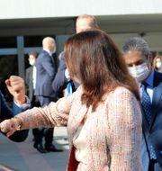 Ann Linde med sin turkiske kollega Mevlüt Cavusoglu. Burhan Ozbilici / TT NYHETSBYRÅN