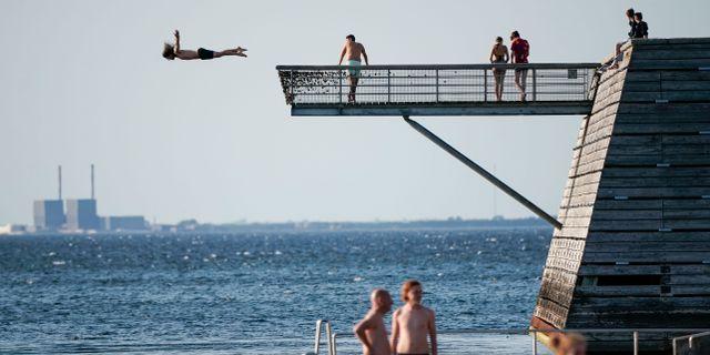 Bad från Titanic-piren i Malmö medan solen sänker sig i Öresund efter ännu en högsommarvarm majdag i Malmö. Johan Nilsson/TT / TT NYHETSBYRÅN