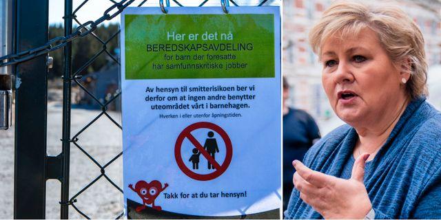 Skylt vid förskola/Erna Solberg. TT