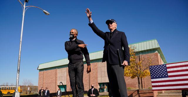 Barack Obama och Joe Biden.  Andrew Harnik / TT NYHETSBYRÅN