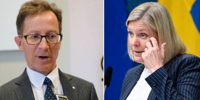 Riksgäldens Hans Lindblad och Sveriges finansminister Magdalena Andersson Ali Lorstani/TT och Joakim Goksör/TT