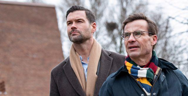Johan Forssell och Ulf Kristersson. Johan Nilsson/TT / TT NYHETSBYRÅN