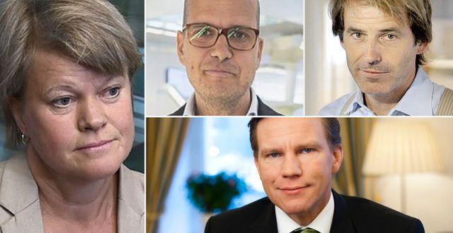 Vänsterpartiets Ulla Andersson, Nordnets sparekonom Joakim Bornold, Avanzas sparekonom Claes Hemberg och SEB:s privatekonom Jens Magnusson. Arkivbilder. TT
