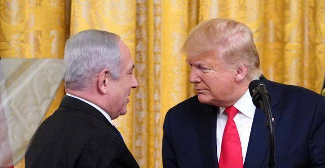 Benjamin Netanyahu och Donald Trump.  MANDEL NGAN / AFP