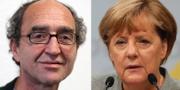Den tysk-turkiske författaren Dogan Akhanli och förbundskansler Angela Merkel. Arkivbild. TT