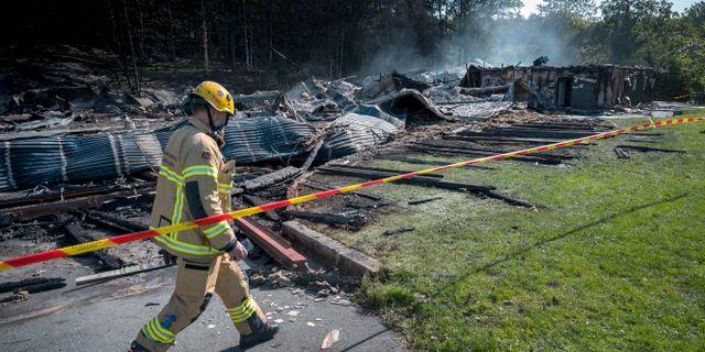 Dagen efter storbranden i Slottsskogshallen Björn Larsson Rosvall/TT / TT NYHETSBYRÅN
