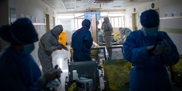 Illustrationsbild: Isoleringsavdelning på ett sjukhus i Wuhan.  Cai Yang / TT NYHETSBYRÅN
