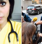 T.v: Karolin Hakim. T.h: Pressuppbåd kring modertaernas rättspolitiska talesperson Johan Forssell  TT