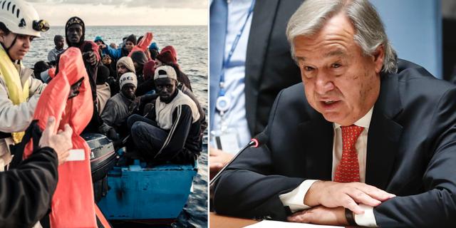 Räddade migranter på Medelhavet, november 2017/António Guterres. TT