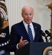 Joe Biden under pressträffen.  Evan Vucci / TT NYHETSBYRÅN