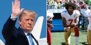 Donald Trump och Colin Kaepernick.  TT