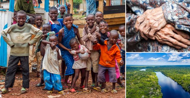 Barn i Centralafrikanska republiken/En gammal kvinna/Amazonas. Shutterstock