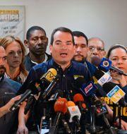 Arkivbild. Tomas Guanipa under en presskonferens.  FEDERICO PARRA / AFP